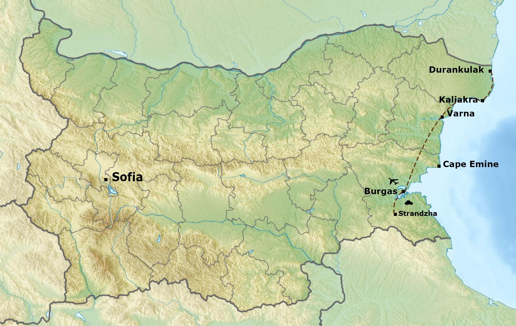 Winter in Bulgaria Map